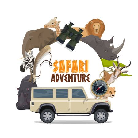 Safari hunting sport and African animals vector design. Safari hunter car, lion, elephant, giraffe, antelope and cheetah or jaguar, elephant, giraffe, rhino and hippo, zebra, compass and hunting horn
