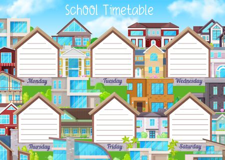 School timetable, education schedule or student planner vector template.