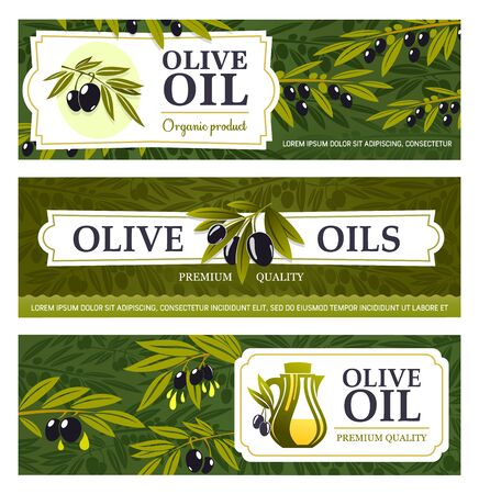 Olive oil and fruits, food vector banners with olive tree branches, black fruits and jugs of extra virgin oil. Vegetarian cooking ingredients of mediterranean cuisine, antipasti or appetizer design