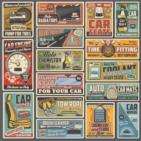 Auto service retro posters with vector car repair and tuning spare parts. Vehicle engine, motor, brake and wheel tire, piston, wipers and seats, radiator, tow rope, coolant and mechanic garage tools Vektorové ilustrace