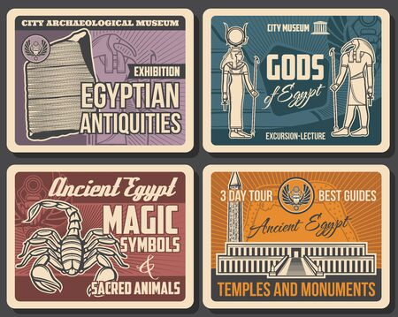 Ancient Egypt vector Valley of the Kings necropolis, Rosetta stone and gods, sacred scorpion, Thoth and Hathor with Ankh symbols, scarab and Luxor obelisk. Archaeological and historical posters 向量圖像