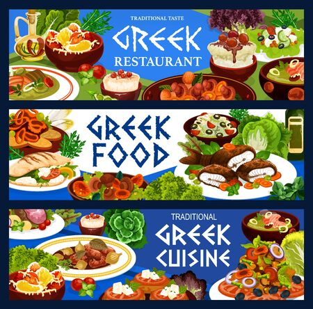 Greek cuisine food vector design of vegetable salad with meat, fish, seafood meal and dessert. Tomato, feta and olives on bread, yogurt sauce, baked lamb and pepper, cod soup, mushroom stew and squid Ilustração
