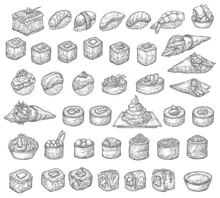 Japanese sushi set, isolated vector sketches of Asian food. Sushi rolls, temaki, nigiri and uramaki, fish and rice hosomaki, gunkan maki and futomaki with wasabi sauce and pickled ginger, bento menu
