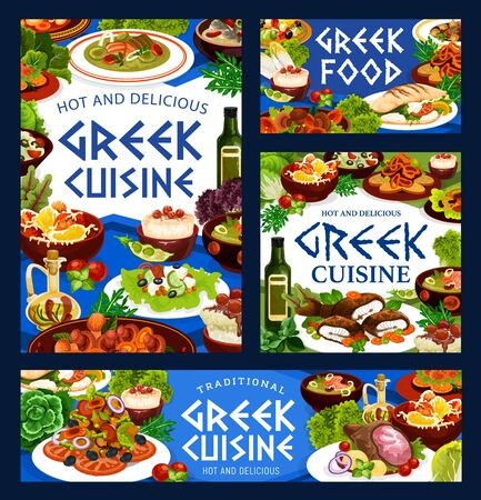 Greek cuisine vector food of vegetable, fish, meat and seafood with rice dessert. Beef stew stifado, salad with tomato, olives and feta cheese, baked lamb, cod and peppers, fish soup, grilled shrimp Ilustração