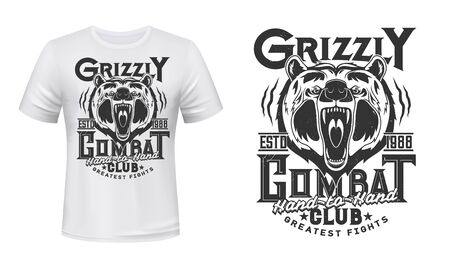 Angry bear mascot t-shirt print vector mockup. Roaring and showing fangs in maw grizzly bear head and typography. Martial arts club, fighting or wrestling team emblem, apparel custom print mockup