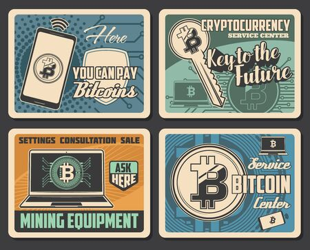 Bitcoin cryptocurrency mining vector design of digital money exchange, blockchain wallet and bit coin trade. Network business payment transactions, mining farm equipment, laptop computer, mobile phone
