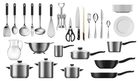 Kitchenware realistic set of vector kitchen utensils, cutlery and tools. Cooking pot, spoon, knife and fork, plate, spatula and whisk, frying pan, saucepan, ladle and colander, jug, corkscrew objects Ilustración de vector
