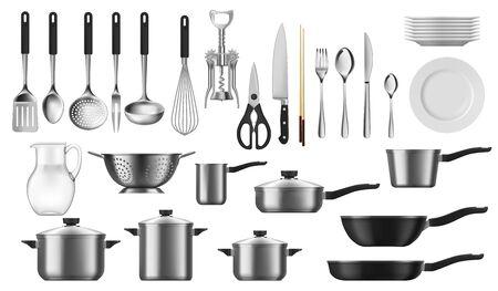 Utensilios de cocina conjunto realista de utensilios de cocina de vector, cubiertos y herramientas. Olla, cuchara, cuchillo y tenedor, plato, espátula y batidor, sartén, cacerola, cucharón y colador, jarra, sacacorchos Ilustración de vector
