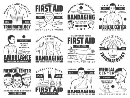 Bandages of injury and fracture vector icons of first aid bandaging. Traumatology medical emergency symbols with bandages of arm or leg bone fractures, elbow or knee joint sprains, head, nose injuries Vettoriali