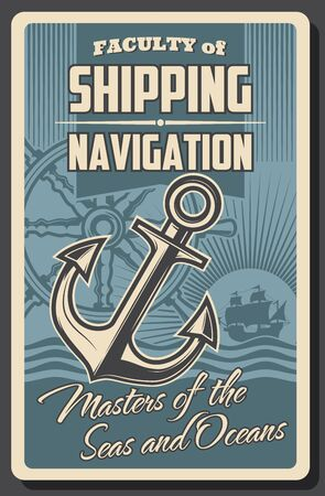 Nautical navigation helm, anchor and sea ship vector design. Sailboat or sailing ship, old wooden steering wheel and anchor with ocean waves vintage poster of marine journey, ocean cruise and yachting