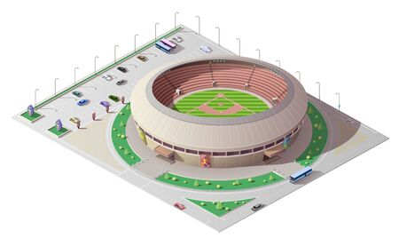 Stadium isometric building of baseball sport. 3d vector sporting arena with green play field, tribunes and floodlights, car and bus parking, street and road, architecture, city infrastructure design