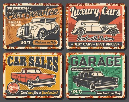 Garage station maintenance, rent and vintage car sale metal rusty vector plates. Vintage cabriolet or sedan, antique limousine and classic vehicle. Retro cars rental and repair service