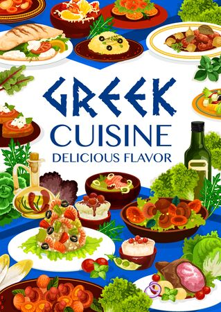 Greek cuisine meal, vector food of seafood risotto, fish soup, meat stew stifado and vegetable salad. Baked lamb, cod and peppers with cheese, tomato, olives and feta toast, roe dip and rice pudding