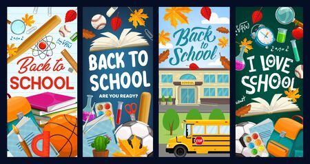 Back to school, student books and chalkboard vector banners. Back to school education items, chemistry test, pen, pencil and eraser stationery, school bus and football ball, backpack and autumn leaf