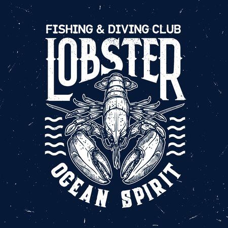 Lobster vector t-shirt print of fishing and diving sport club. Ocean and sea animal of marine crustacean with waves and lettering template design of fisherman and diver custom apparel Illustration