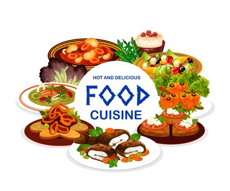 Greek cuisine food vector design. Vegetable salad with olives and feta, meat stew stifado and fish soup, squid rings in wine sauce, tomatoes and cheese on grilled bread, rice pudding and baked trout Ilustração