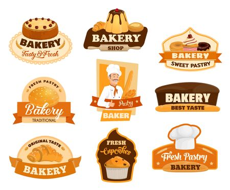 Baker, pastry and bread isolated icons of bakery vector design. Bread, croissant and baguette, cake, cupcake, donut and muffin, pie, cereal bun and cheesecake, toque, chef hat and rolling pin emblems