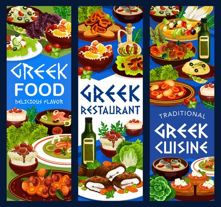 Greek cuisine restaurant food banners. Vector vegetable salad, fish soup and meat stew stifado, yogurt sauce tzatziki, baked trout with tomato, feta cheese and olive toast, rice pudding, pike roe dip
