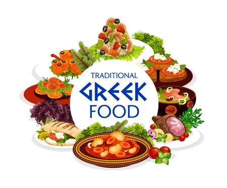 Greek cuisine food of vector dishes with vegetables, meat, fish and seafood. Beef stew stifado, shrimp risotto, cod cream soup and baked lamb, feta and tomato on grilled bread, prawn in garlic sauce