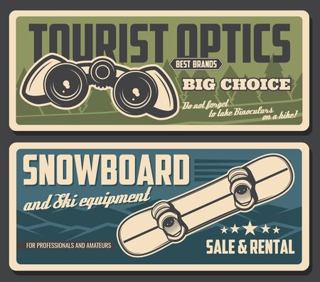 Snowboard and binoculars vector design of tourism equipment and snowboarding sport gear. Winter snow mountains and forest trees, tourist field glasses and snowboarder board with bindings