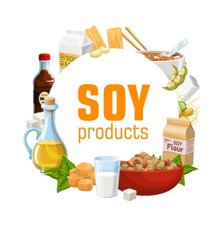 Soybean food products of vector soy bean legumes, milk, tofu, oil, miso and soya sauce, tempeh, meat skin, flour and noodle, edamame bean pods and green leaves. Vegetarian protein, healthy meal design