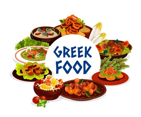 Greek cuisine seafood, vegetables and meat food. Vector beef stifado, cod and trout cream soups, mushroom stew, baked peppers with cheese, grilled shrimp or prawn and squid rings in wine sauce