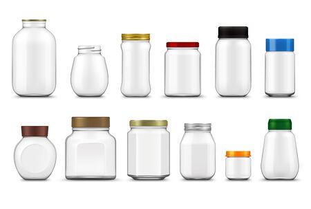 Bocaux en verre avec couvercles maquette réaliste, emballages alimentaires vectoriels. Conteneurs de bouteilles clairs vides et pots transparents avec bouchons à vis en métal et en plastique modèle 3d de conception de mise en conserve et de stockage des aliments