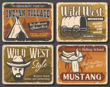 Wild West retro posters of Western cowboy with hat, rodeo horse and Texas sheriff gun. Native american or indian teepee, old wagon and mustang saddle, Wild West and Western museum vector design