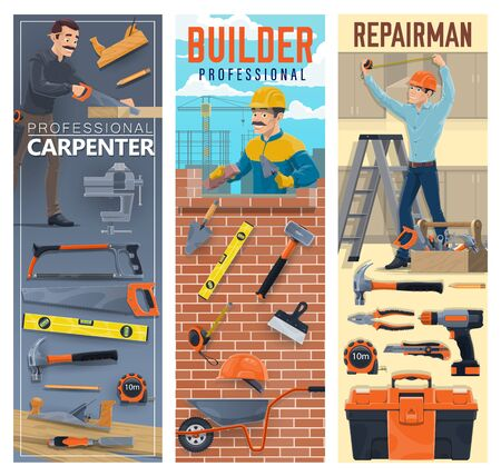 Builder, carpenter, bricklayer and handyman, construction industry workers. Vector men with tools and equipment, bricks, trowel, toolbox and hammer, hard hat helmets, drill, pliers and level rulers