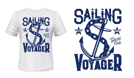 Anchor t-shirt print mockup of sailing and yachting sport vector design. Nautical anchor of marine ship or sail boat with chain and lettering, custom apparel template for yacht club racing competition