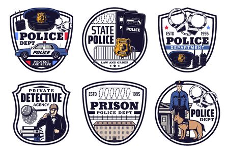 Police, detective and justice isolated icons of vector law and order. Officer, detective and jail or prison, sheriff or policeman badge, handcuffs, radio scanner, patrol car, cap and fingerprint Vecteurs