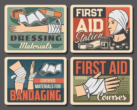 Wound and injury bandaging vector design of first aid medical treatments. Broken hand or arm, injured leg and head with gauze dressing, plaster, adhesive bandage, patch and band or tape