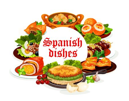Spanish cuisine dishes, vector meat, fish and vegetable food. Tuna salad San Isidro with olives, beef kabob skewers and sardine empanada, lamb pie, deviled eggs, almond bread soup and egg omelette