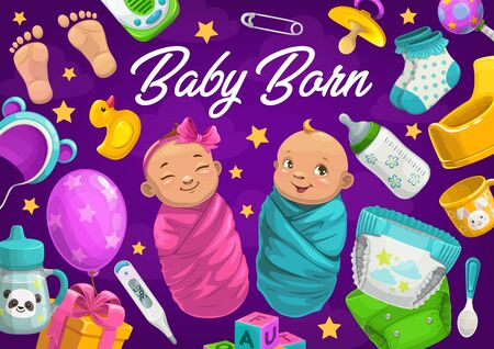 Newborn baby boy and girl vector card of baby shower. New born kids with child care accessories, bottles, diapers, rattle and pacifier, spoon, pin, gift box, socks and hat, blocks, monitor and potty Çizim