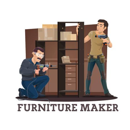 Furniture makers or carpenter assembling cupboard with shelves cartoon vector of furniture making, assembly and repair service. Handyman and installer with drill and screw gun assembling wardrobe