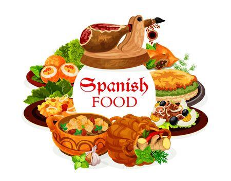 Spanish food, vector dishes of seafood risotto, fish salad San Isidro with eggs and olives, Iberian ham, bread almond soup and omelette, lamb pies and deviled eggs. Spanish cuisine restaurant design
