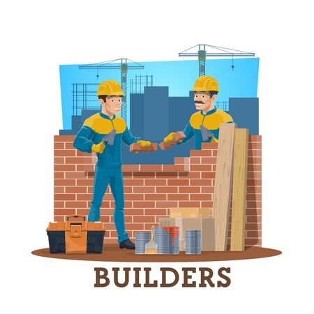 Bricklayer builders, vector construction industry workers. Mason cartoon characters laying bricks on construction site with trowels, cement mortar, toolbox, wheelbarrow, hard hats or helmets