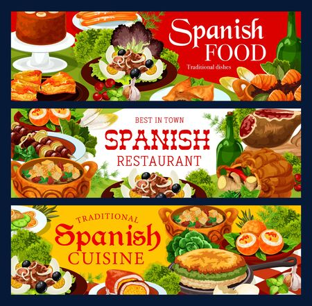 Spanish cuisine restaurant banners, vector food of meat, fish and vegetable dishes with desserts. Iberian ham, beef kabob and tuna stew, empanada, churros and omelette, sardine salad, mousse and soup