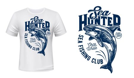 Killer whale vector print mockup of fishing sport club t-shirt design. Orca, sea or ocean animal jumping out of water grunge print template with letterings for custom apparel of fisherman club Illustration