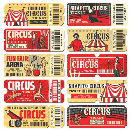 Circus ticket vector templates of chapiteau carnival show. Vintage invite cards and pass coupon with big top circus tent, clowns, acrobats and trained animals, monkey juggler, rocket man and elephant Ilustración de vector