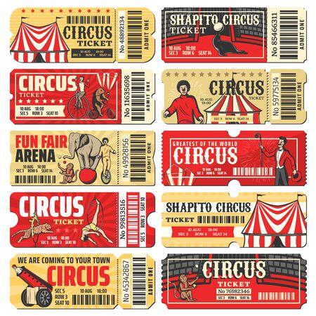 Modèles vectoriels de billets de cirque du spectacle de carnaval de chapiteau. Cartes d'invitation vintage et coupon avec chapiteau de cirque, clowns, acrobates et animaux dressés, singe jongleur, homme-fusée et éléphant Vecteurs