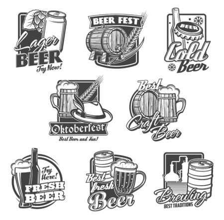 Beer alcohol drink vector icons with beer bottles, glasses and mugs. Pub, bar or brewery pints of ale and lager beverages, barrel, hops and barley, tap, can, brewing tanks and Oktoberfest tankard