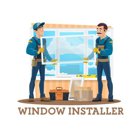 Window installation vector design of construction workers, carpenters or window installers with glass and plastic panes, work tools and toolbox, screwdrivers, ruler level, uniform. Building industry 向量圖像