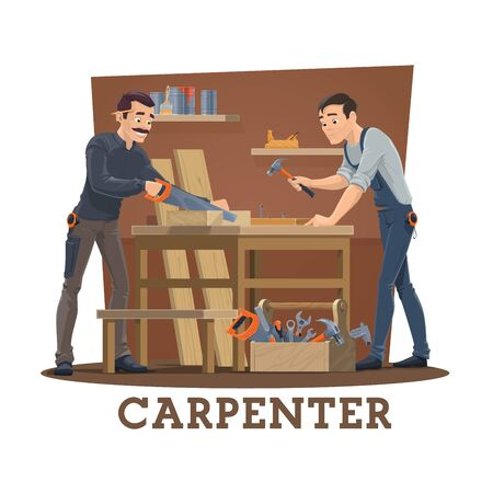 Carpenters at workshop cartoon vector of carpentry industry workers with work tools and equipment. Joiner characters nailing and sawing wood boards with saw, hammer and nails, tape measure and plane