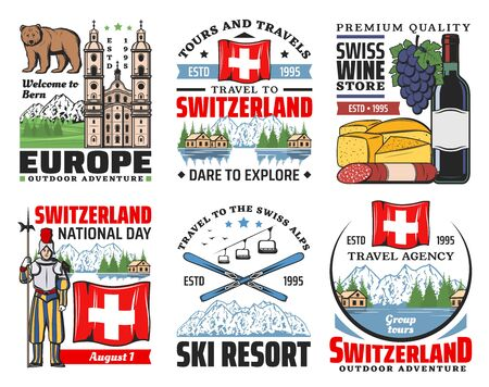 Switzerland vector icons of Swiss travel and tourism. Alps mountains, skis and flag, cheese, wine and sausages, bear symbol of Bern, church and Alpine meadow green grass, lake Geneva and Swiss guard