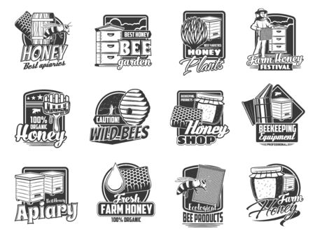 Beekeeping apiary isolated icons with vector bees, honeys, beehives and honeycombs. Beekeeper, beekeeping farm hive, honey jar and drop, wooden dipper and flower monochrome symbols, apiculture design