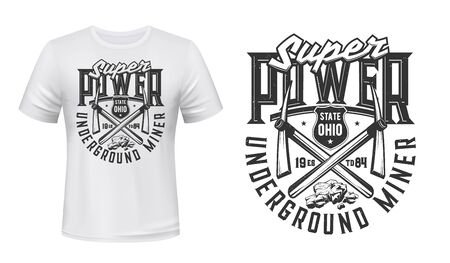Mining industry t-shirt print mockup with vector miner pickaxe, crossed work tools and coal rocks. Underground miner super power grunge badge of custom apparel template