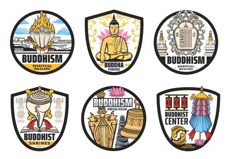 Buddhism religion, Tibet and Buddhist vector symbols. Isolated vector icons of Buddha, lotus, prayer wheels, spiritual bell and dorje, temple stupas, conch shell, fish, parasol and Potala palace