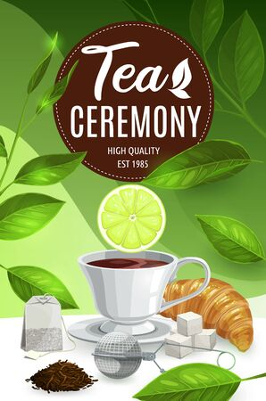 Cup of tea with lemon and mint, vector hot beverage. Green leaves and cured tea, teabag and mug with saucer, sugar cubes, croissant and infuser mesh spoon, tearoom ceremony, shop and cafe design
