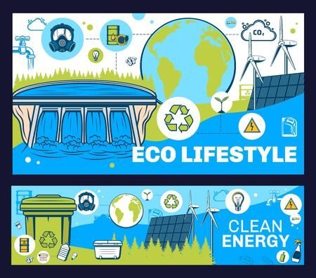 Ecology and environment vector design of eco green clean energy, save Earth and recycle. Eco power of solar, water and wind, renewable energy technology, tree, electric car, light bulb and bio fuel